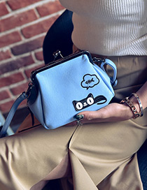 Lovely Blue Cartoon Cat Decorated Color Matching Mini Shoulder Bag