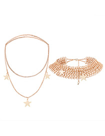 Fashion Gold Color Stars Pendant Decorated Pure Color Jewelry Sets