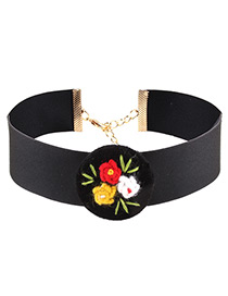 Fashion Black Flowers Decorated Color Matching Simple Choker