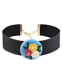 Fashion Blue Flowers Decorated Color Matching Simple Choker