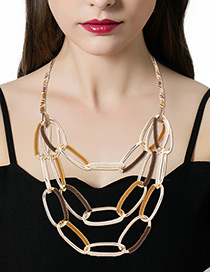 Fashion Coffee+yellow Chains Decorated Color Matching Simple Necklace