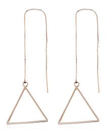 Trendy Gold Color Triangle Shape Decorated Pure Color Simple Earrings
