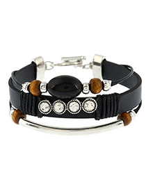 Personalized Black+silver Color Oval Shape Beads Decorated Multi-layer Simple Bracelet