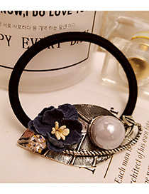 Vintage Blue Flower Shape&round Shape Decorated Simple Hair Band