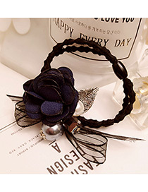 Elegant Navy Flower Shape &round Shape Decorated Simple Hair Band