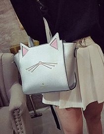 Fashion Silver Color Cat Shape Decorated Color Matching Simple Shoulder Bag