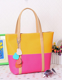 Fashion Yellow+plum Red Color Matching Decorated Square Shape Design Shoulder Bag