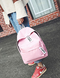 Fashion Pink Letter Pattern Decorated Pure Color Simple Backpack