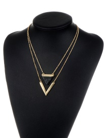 Fashion Black Triangle Shape Pendant Decorated Simple Double Layer Necklace