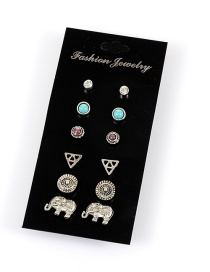 Retro Silver Color Metal Elephant Shape Decorated Simple Earrings (6sets)