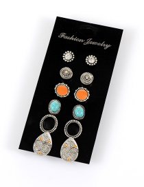 Retro Multi-color Metal Oval Shape Pendant Decorated Simple Earrings(6sets)