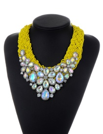 Trendy Multi-color Water Drop Shape Diamond Decorated Color Matching Necklace