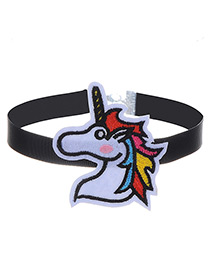 Fashion Black Embroidery Horse Decorated Color Matching Choker