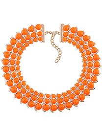 Trendy Orange Diamond Decorated Bead Shape Pure Color Simple Necklace