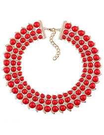 Trendy Red Diamond Decorated Bead Shape Pure Color Simple Necklace