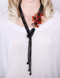 Trendy Red Flower Shape Decorated Simple Long Chain Necklace