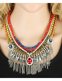 Bohemia Multi-color Watershape Diamond Decoarted Simple Tassel Short Chain Necklace