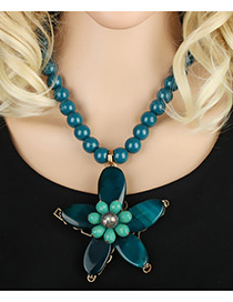 Bohemia Dark Green Flower Pendant Decorated Simple Short Chain Necklace