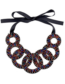 Bohemia Multi-color Hollow Out Decorated Simple Short Chain Necklace
