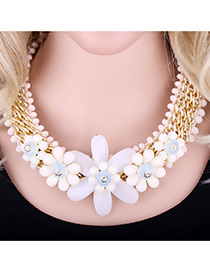 Exaggerate White Flower Shape Decorated Simple Short Chain Necklace