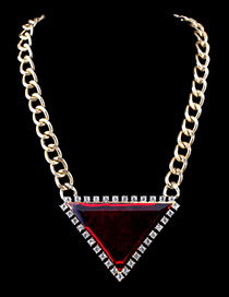 Trendy Red Diamond Decorated Triangle Shape Color Matching Necklace