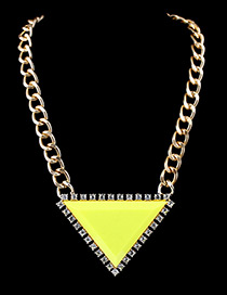 Trendy Yellow Diamond Decorated Triangle Shape Color Matching Necklace