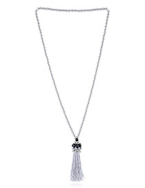Trendy Gray Tassel Pendant Decorated Color Matching Simple Necklace