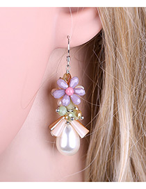 Fashion Purple Flower Shape Decorated Tassel Design Color Matching Earrings