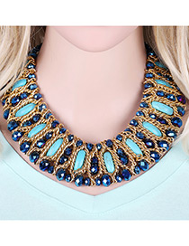 Fashion Blue Sqaure Shape Gemstone Decorated Mutli-layer Design Color Matching Necklace