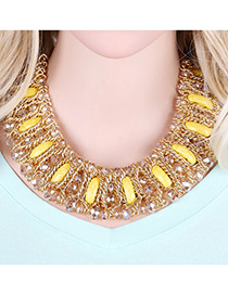Fashion Yellow Sqaure Shape Gemstone Decorated Mutli-layer Design Color Matching Necklace