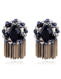 Elegant Black Diamond Decorated Tassel Design Color Matching Earrings