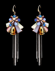 Fashion Multi-color Flower Shape Decorated Tassel Design Color Matching Earrings