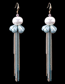 Bohemia Blue Round Shape Decorated Simple Color-matching Tassel Earrings