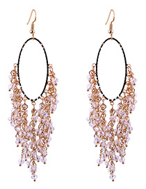 Bohemia White Irregularity Shape Tassel Decorated Simple Hollow Out Earrings
