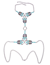 Exaggerate Blue Circle Decorated Simple Oval Shape Diamond Design Long Body Chain