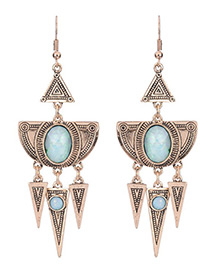 Vintage Gold Color Round Gemstone Decorated Triangle Design Earrings