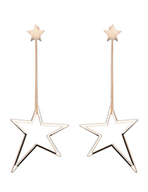 Fashion Gold Color Hollow Out Star Pendant Decorated Simple Long Earrings