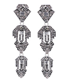 Personality Silver Color Geometric Shape Decorated Hollow Out Design Earrings