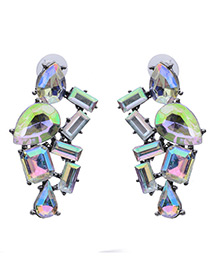 Luxury Multi-color Geometric Shape Diamond Decorated Simple Hollow Out Earrings