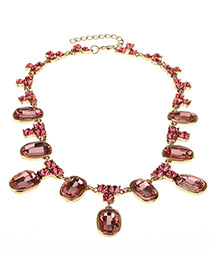 Elegant Pink Square Shape Diamond Decorated Simple Pure Color Necklace
