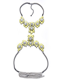 Exaggerate Yellow Flower Shape Decorated Simple Long Waist Chain