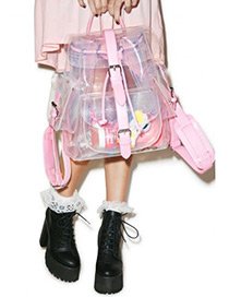 Fashion Pink Color Matching Decorated Transparent Design Backpack