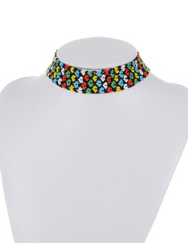 Retro Multi-color Color Matching Decorated Simple Wide Choker