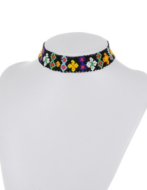 Retro Multi-color Flower Shape Decorated Simple Color-matching Choker