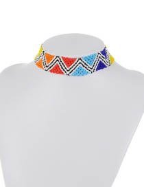 Retro Multi-color Triangle Shape Decorated Simple Color-matching Bead Choker