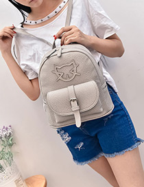 Fashion Gray Cartoon Cat Pattern Decorated Pure Color Simple Backpack