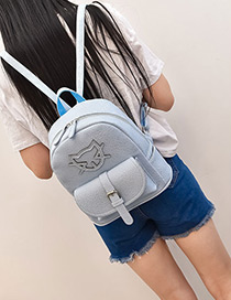 Fashion Blue Cartoon Cat Pattern Decorated Pure Color Simple Backpack