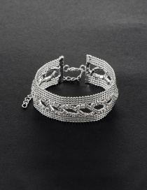 Elegant Silver Color Oval Shape Decorated Simple Pure Color Bracelet