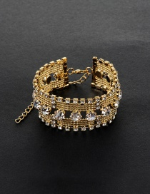 Fashion Gold Color Big Round Shape Diamond Decorated Simple Hollow Out Bracelet