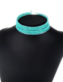 Trendy Blue Beads Decorated Double Layer Design Pure Color Choker